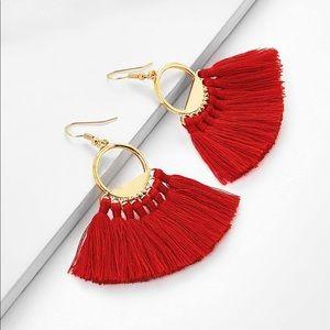 Jewelry - Red fringe fan earrings